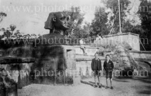 Boys visiting the Sphinx war memorial in Ku-ring-gai Chase National Park, NSW, circa 1930s.