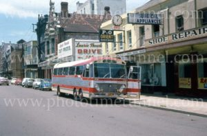Bus at Jayes Travel, Scott Street, Newcastle, NSW, 1960s.