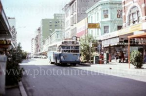 Government bus in Hunter Street, Newcastle, NSW, 1960s.