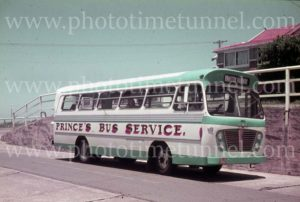 Prince's Bus Service bus at Merewether, Newcastle, NSW, 1960s.