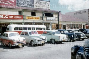 Old cars in Taree, NSW, 1960s.