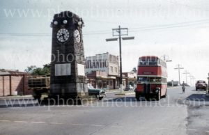Bus at the war memorial in Taree, NSW, 1960s. (2)