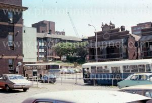 Government bus at Wombah Flats, Pacific Street, Newcastle, NSW, 1979.