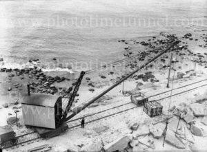 Construction work on Nobbys breakwater, Newcastle, NSW, June 23, 1939. (2)