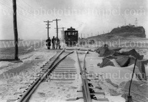 Steam tram on Nobbys breakwater, Newcastle, NSW, January 27, 1939.