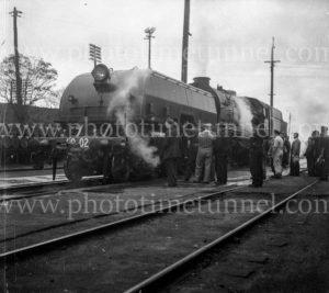 Garratt locomotive at Broadmeadow yards, NSW, after test run from Enfield, August 1, 1952.