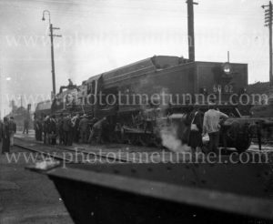 Garratt locomotive at Broadmeadow yards, NSW, after test run from Enfield, August 1, 1952. (Rear view)