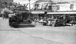Last day of Kogarah steam tram, Sydney, July 30, 1937.