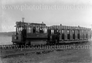 Steam tram at Speers Point, Lake Macquarie (Newcastle), NSW, May 1931.