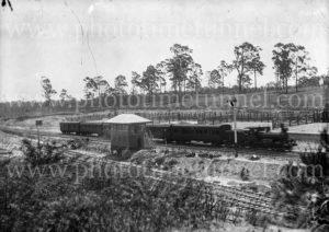 Passenger train at Hanbury Junction, Waratah, (Newcastle), NSW, 1914.
