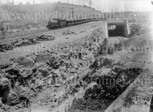 Coal train and construction at Hanbury Junction, Waratah, (Newcastle), NSW, 1914.