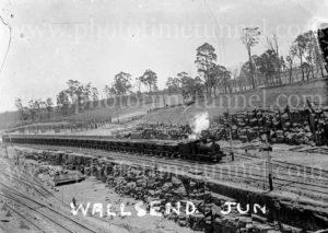 Coal train and track work at Hanbury Junction, Waratah, (Newcastle), NSW, 1914.