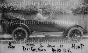 George Hunt, taxi driver, with his cab in Newcastle, NSW, circa 1920 (2)