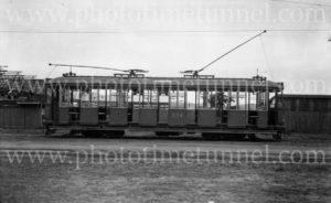First electric tram to enter Gordon Avenue depot, Newcastle, NSW, 1923.