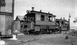 Steam tram at Sans Souci, NSW, 1934.