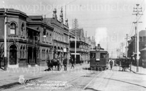 Steam tram in Newcastle East, NSW, circa 1910.