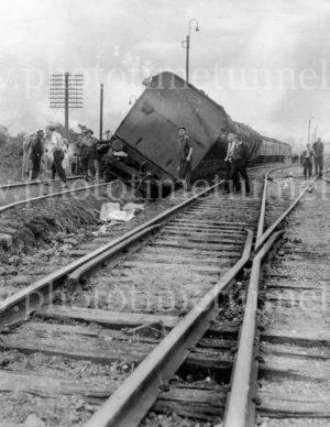 Train derailment at Adamstown, Newcastle, NSW, November 26, 1947.