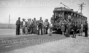 Tram tour at Merewether terminus, Newcastle, NSW, December 6, 1947.