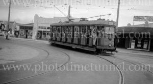 Tram tour moving from Maitland Road into Tudor Street, Hamilton, Newcastle, NSW, December 6, 1947.