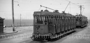 Trams at Merewether terminus, Newcastle, NSW, December 6, 1947.