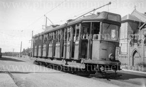 Electric tram at Waratah terminus, Newcastle, NSW, December 30, 1947.