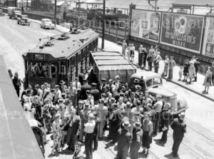 Collision between a tram and a truck, Scott Street, Newcastle, NSW, December 5, 1947.