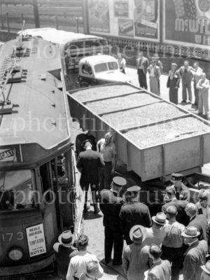 Collision between a tram and a truck, Scott Street, Newcastle, NSW, December 5, 1947. (2)
