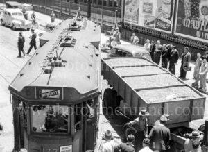 Collision between a tram and a truck, Scott Street, Newcastle, NSW, December 5, 1947. (3)