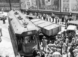 Collision between a tram and a truck, Scott Street, Newcastle, NSW, December 5, 1947. (5)