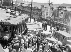 Collision between a tram and a truck, Scott Street, Newcastle, NSW, December 5, 1947. (6)