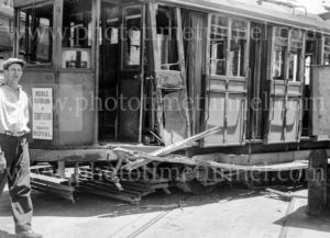 Collision between a tram and a truck, Scott Street, Newcastle, NSW, December 5, 1947. (8)