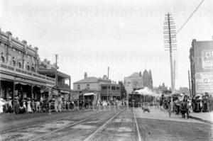 Corner of Hunter and Union Streets, Newcastle, NSW, circa 1910.