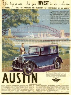 Invest in an Austin, 1934 car advertisement with Sydney Harbour Bridge.