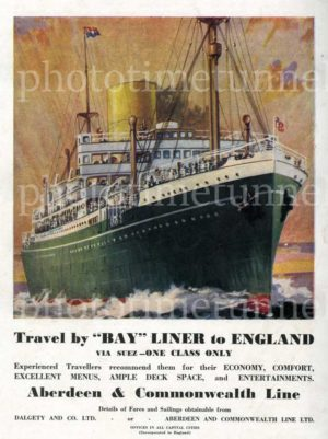 Bay liner to England, vintage Australian print advertisement for Aberdeen and Commonwealth Line, c1937.