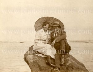 Couple on Newcastle Beach on Armistice Day, November 11, 1918.