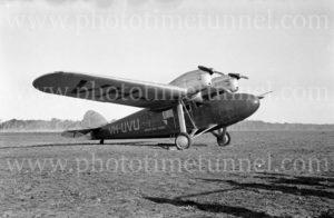 Gannet aircraft VH-UVU, Broken Hill to Sydney service, May 22, 1937.