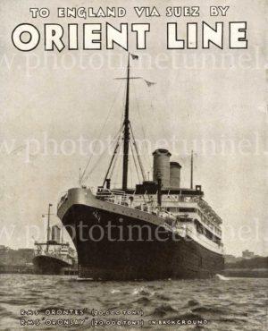 To England via Suez by Orient Line: vintage printed advertisement, c1930s.
