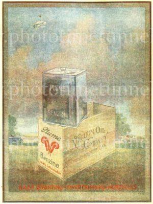 Plume petroleum, vintage 1930s printed advertisement.