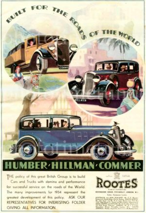 Rootes Group, Humber, Hillman, Commer. Vintage printed advertisement, 1934.