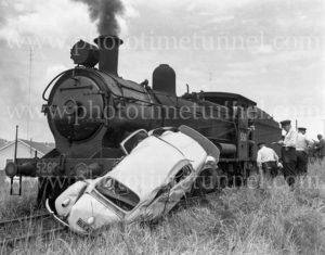 Railway level crossing smash at Adamstown, NSW, January 14, 1963.