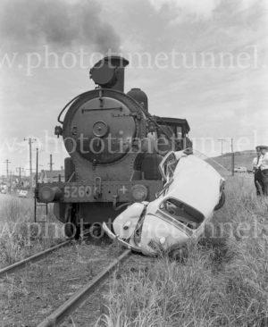 Railway level crossing smash at Adamstown, NSW, January 14, 1963. (2)