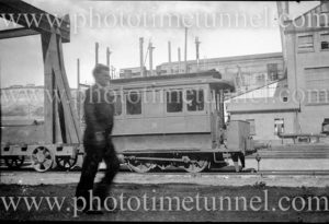 Steam tram motor at Zaara Street power station, Newcastle, NSW.