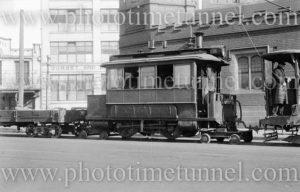 Steam tram on Lee Street, Sydney, circa 1940s.