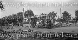 Cable tram on St Kilda Road, Melbourne, Victoria, circa 1925.
