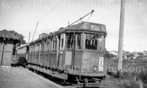 Tram on the Wallsend line, Newcastle, NSW, 31-12-1947.