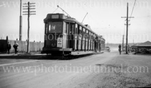 LP electric tram in Chatham Road, Broadmeadow (Newcastle), NSW, January 21, 1948.