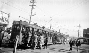 Coupled set of electric trams at the Nine Ways, Broadmeadow (Newcastle), NSW, January 21, 1948.