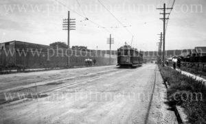 Tram in Chatham Road, Broadmeadow, (Newcastle, NSW), 21-1-1948.