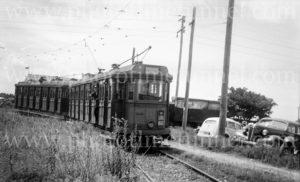 Tram on the Racecourse line, Broadmeadow, (Newcastle, NSW), 24-1-1948.