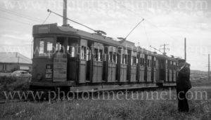 Tram with railway station connection sign, Newcastle, NSW, 24-1-1948. (2)
